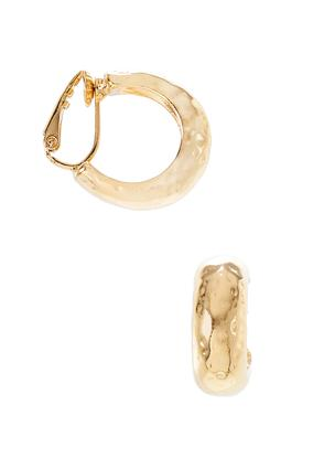 Hammered Gold Hoop Clip- On Earrings