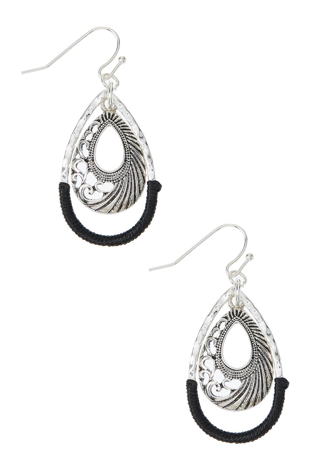 Cord Wrapped Silver Tear Earrings