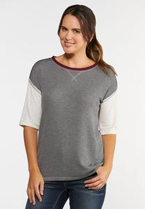 Plus Size Waffle Colorblock Top