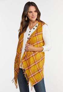Plus Size Plaid Tasseled Vest