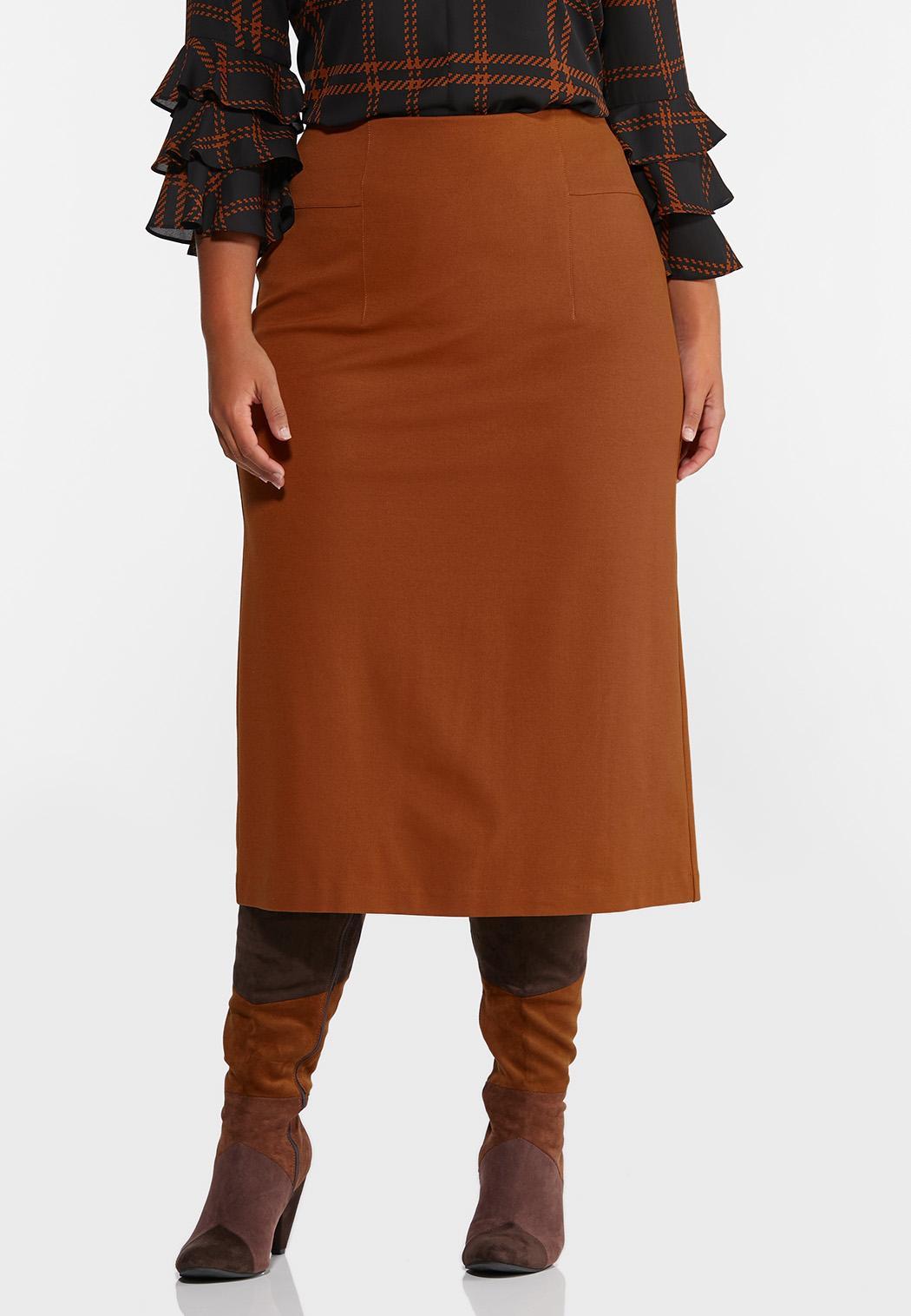 Plus Size Ponte Pull-On Midi Skirt