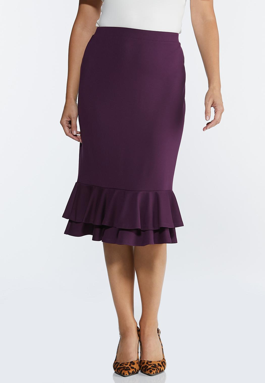 Double Ruffle Ponte Skirt