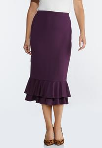 Plus Size Double Ruffle Ponte Skirt