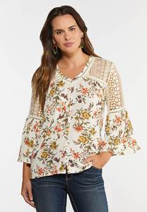 Plus Size Garden Floral Crochet Top