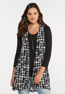 Plus Size Houndstooth Vest