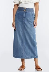 Plus Size Double Button Denim Maxi skirt