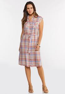 Plaid Tie Waist Shirt Dress