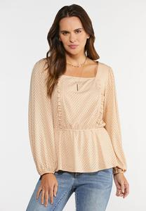Peach Eyelet Peplum Top