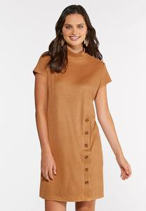 Ribbed Faux Suede Dress