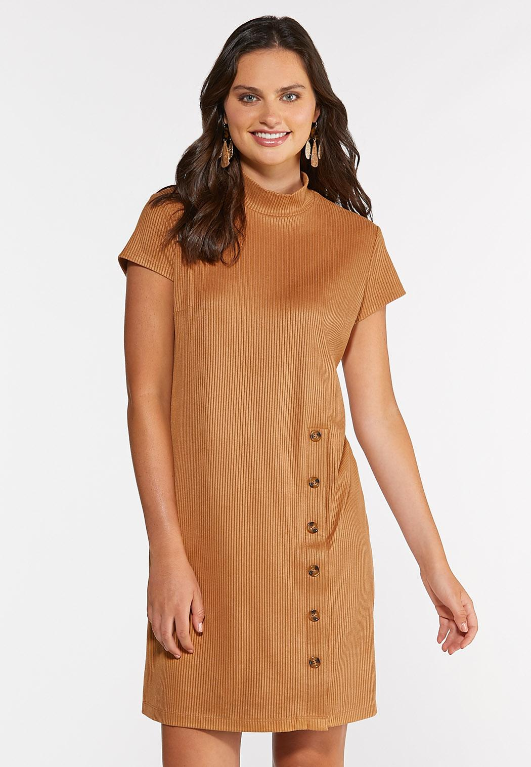 Plus Size Ribbed Faux Suede Dress