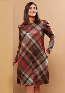 Plus Size Harvest Plaid Swing Dress