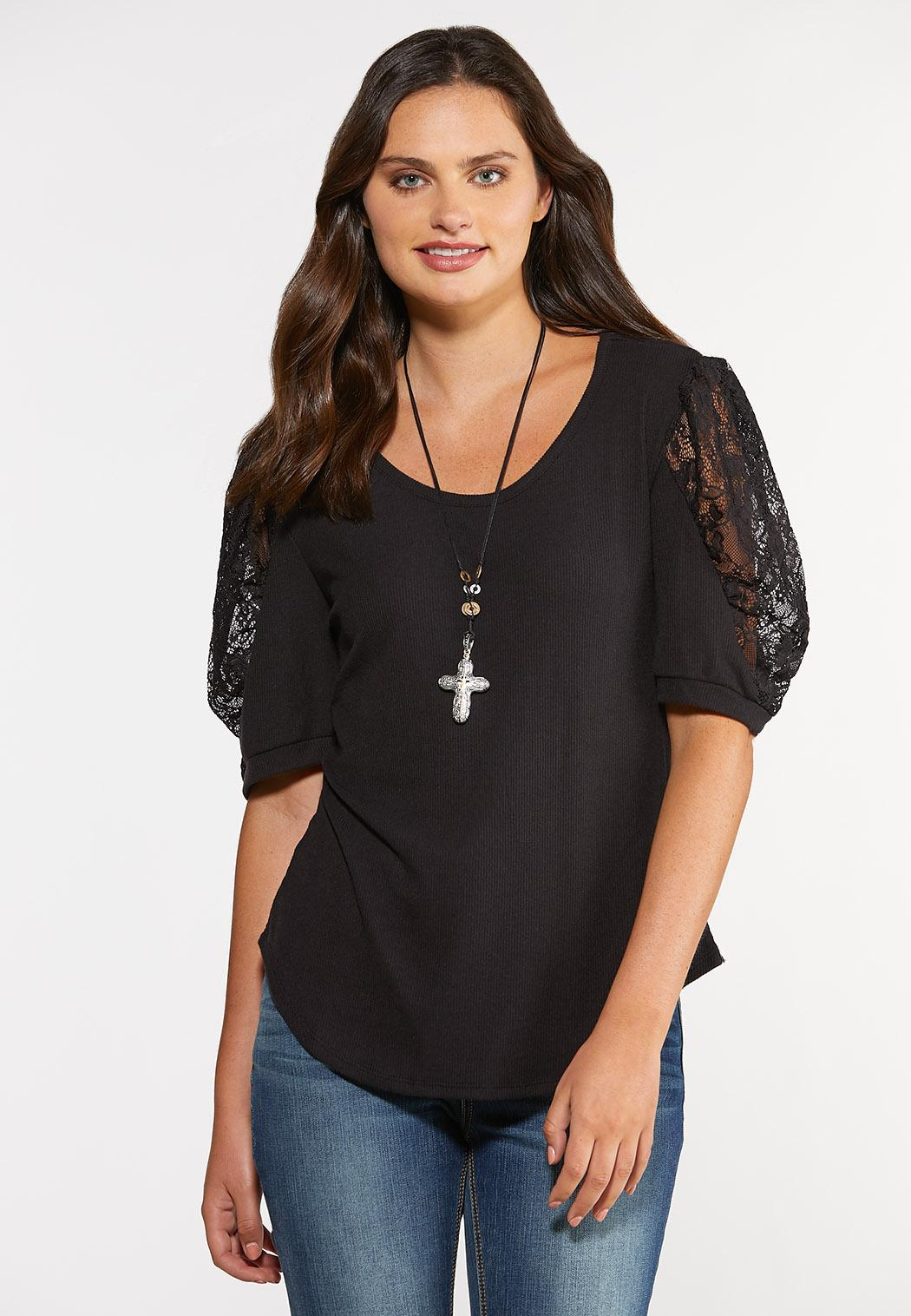Plus Size Lace Puff Sleeve Top