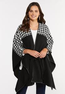 Belted Houndstooth Wrap