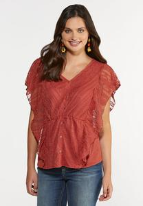 Rust Lace Ruffle Top