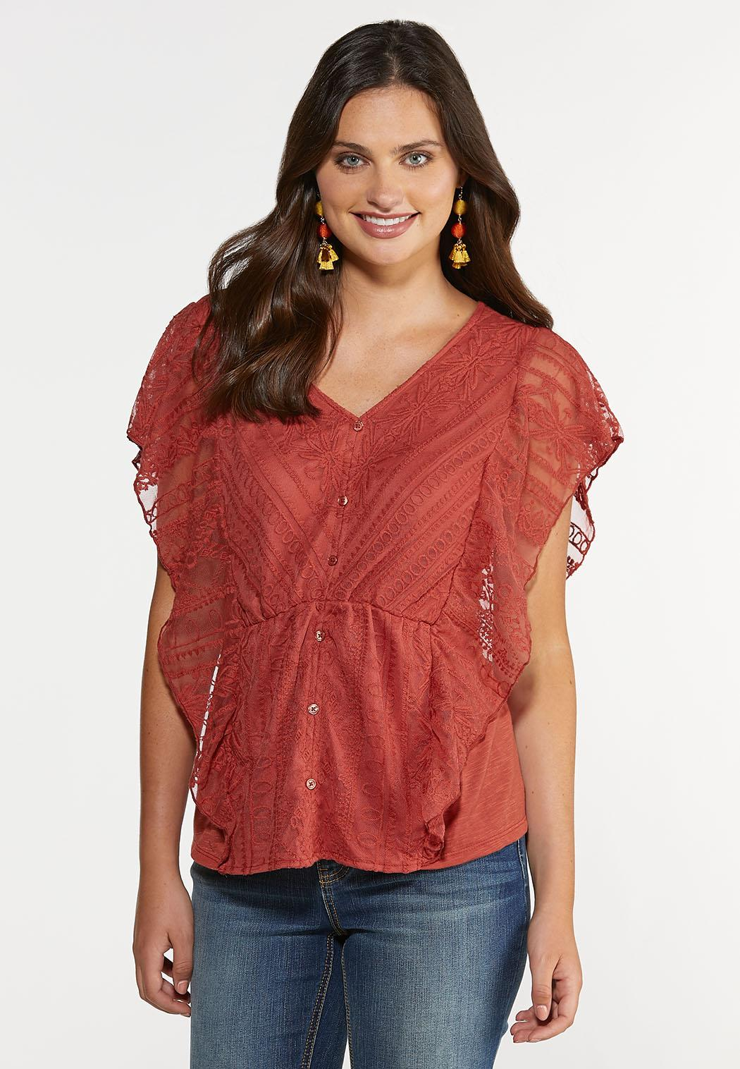 Plus Size Rust Lace Ruffle Top