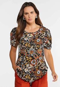 Plus Size Floral Pointed Hem Top