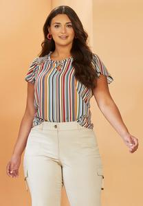Plus Size Stripe Ruffle Poet Top