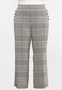 Plus Size Autumn Plaid Wide Leg Pants