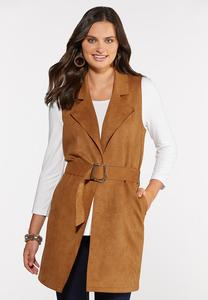 Belted Faux Suede Vest