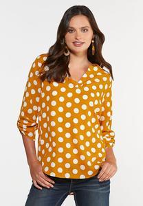 Plus Size Gold Polka Dot Top