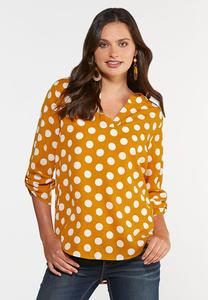 Plus Size Gold Polka Dot Top
