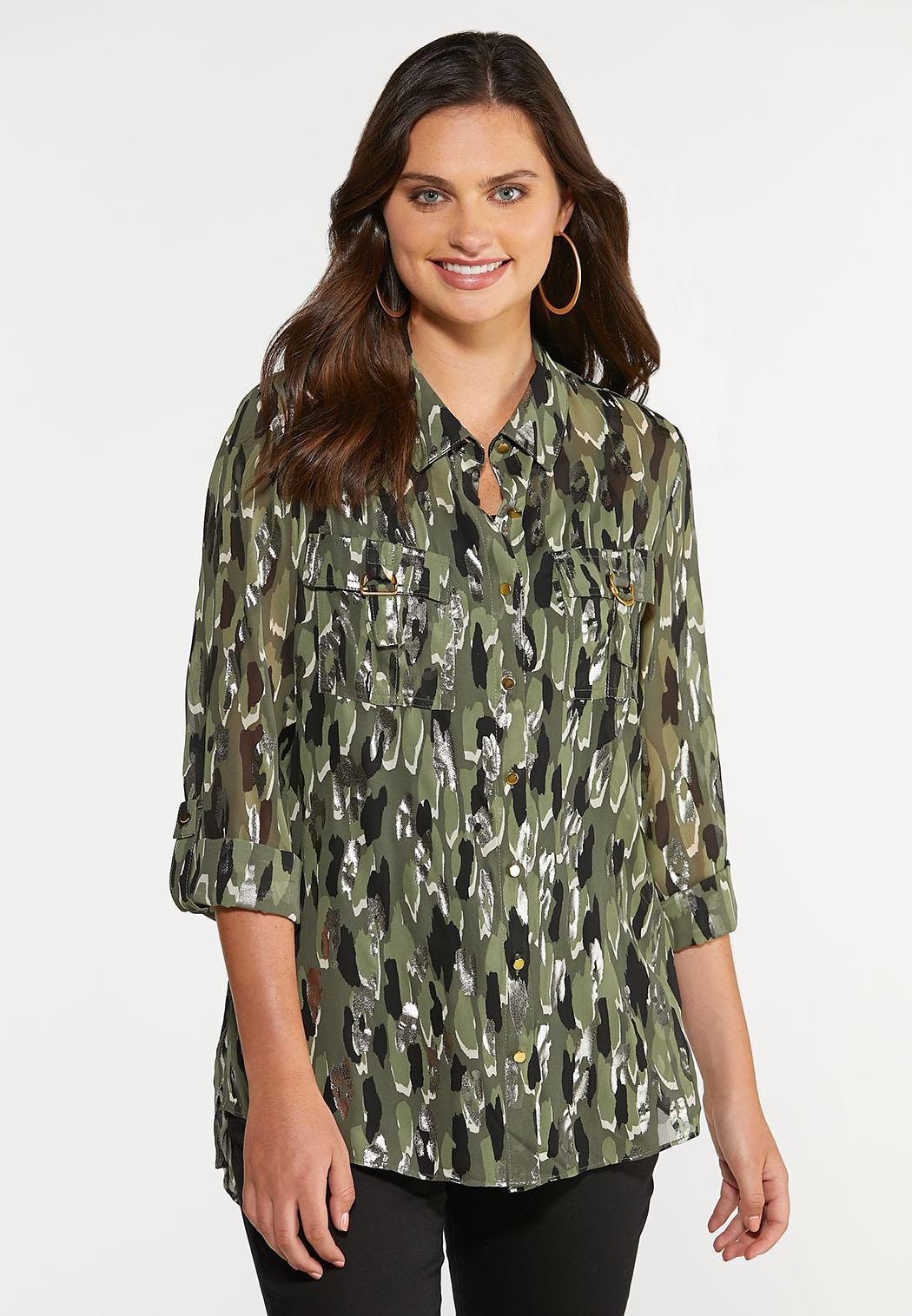 Plus Size Olive Foil Equipment Shirt
