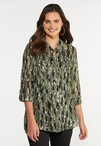 Plus Size Olive Foil Equipment Shirt