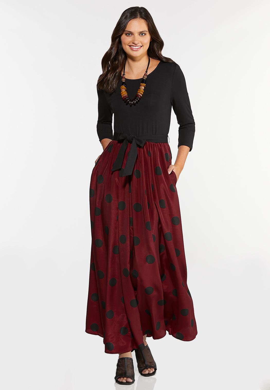 Plus Size Polka Dot Colorblock Dress