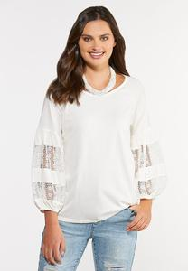 Lacy Balloon Sleeve Top