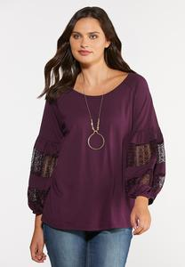 Plus Size Lacy Balloon Sleeve Top