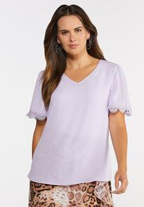 Plus Size Lilac Lace Trim Top