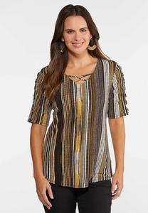 Plus Size Honey Stripe Top