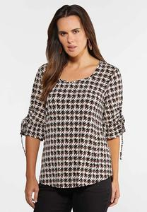 Plus Size Houndstooth Tie Sleeve Top