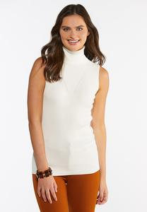 Plus Size Sleeveless Turtleneck Sweater