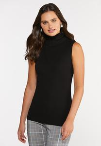 Plus Size Sleeveless Turtleneck Sweater