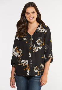 Plus Size Black Floral Top