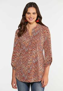 Plus Size Autumn Chevron Tunic
