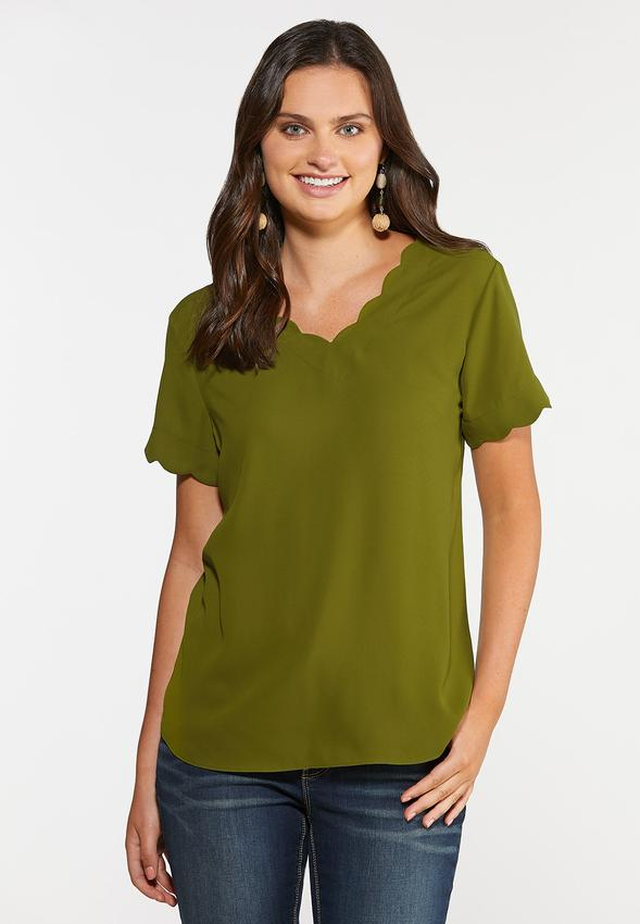 Plus Size Scalloped Sleeve Top
