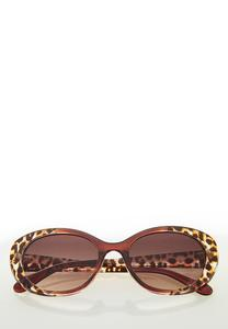 Leopard Trim Cateye Sunglasses