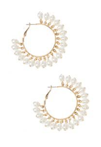 Shaky Pearl Hoop Earrings