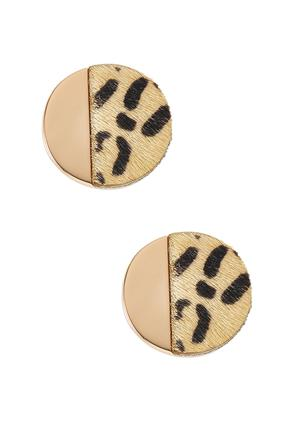 Textured Leopard Button Clip- On Earrings