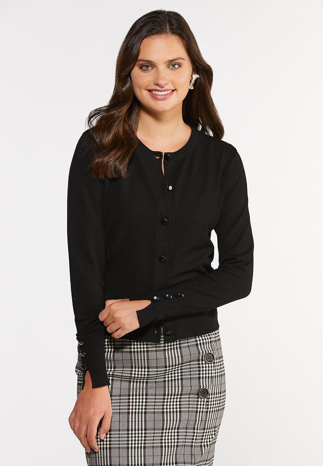 Plus Size Classic Black Cardigan Sweater