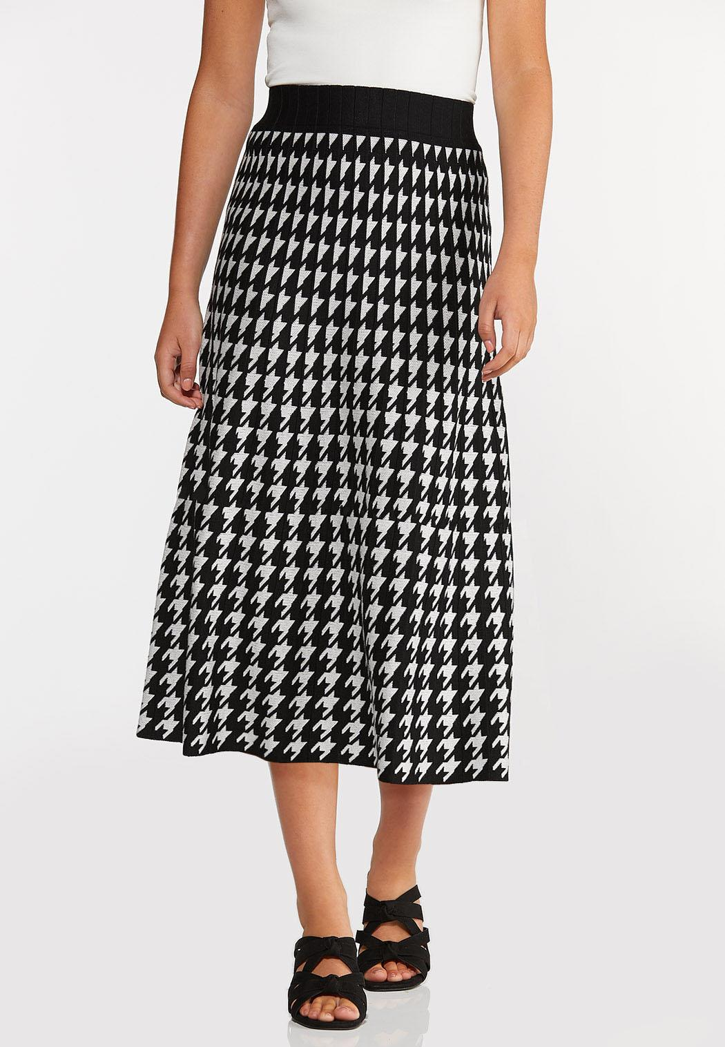 Plus Size Houndstooth Sweater Skirt
