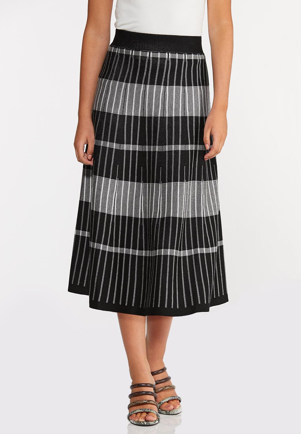 Plus Size Stripe Plaid Sweater Skirt