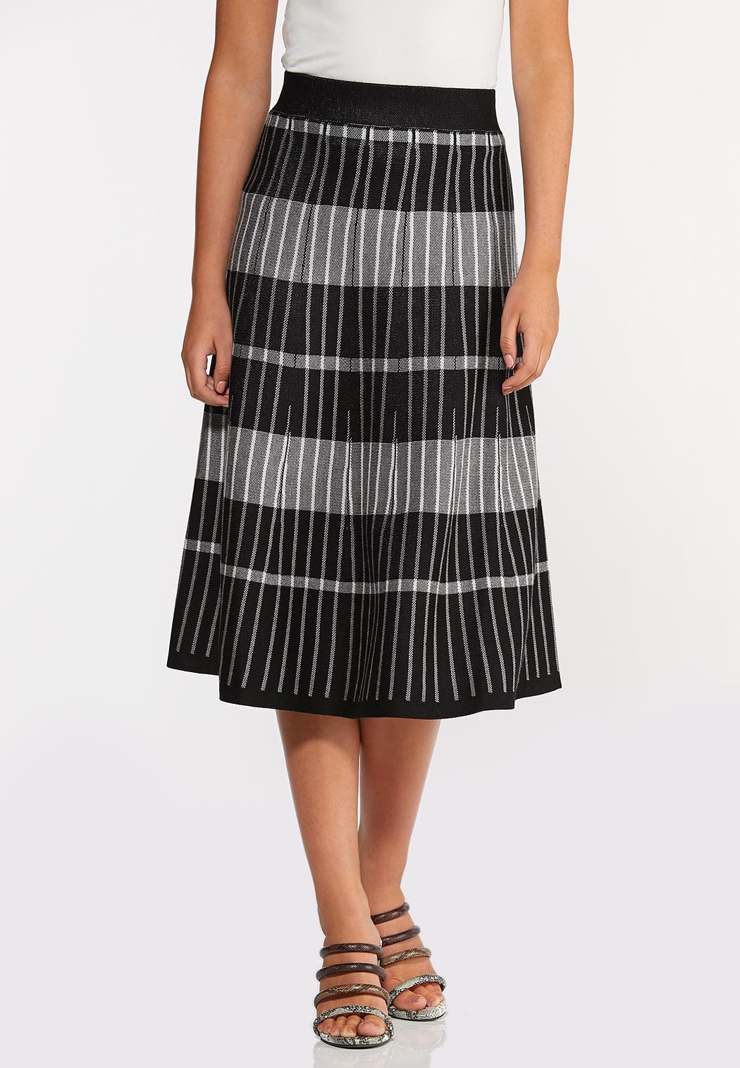 Stripe Plaid Sweater Skirt