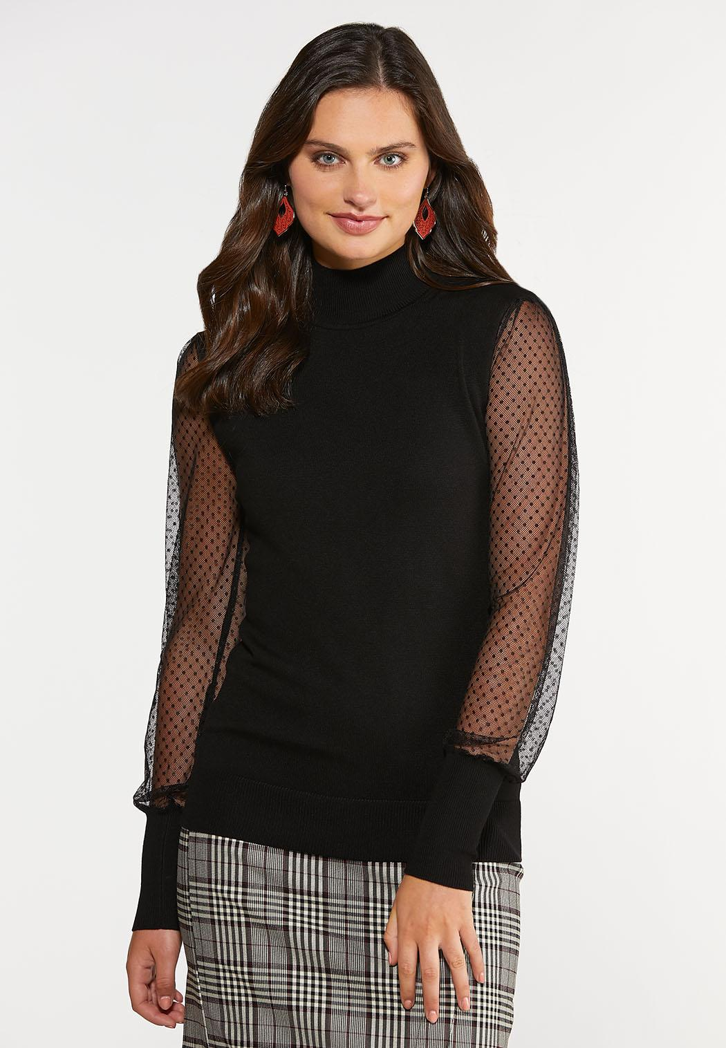 Dotted Mesh Sleeve Top
