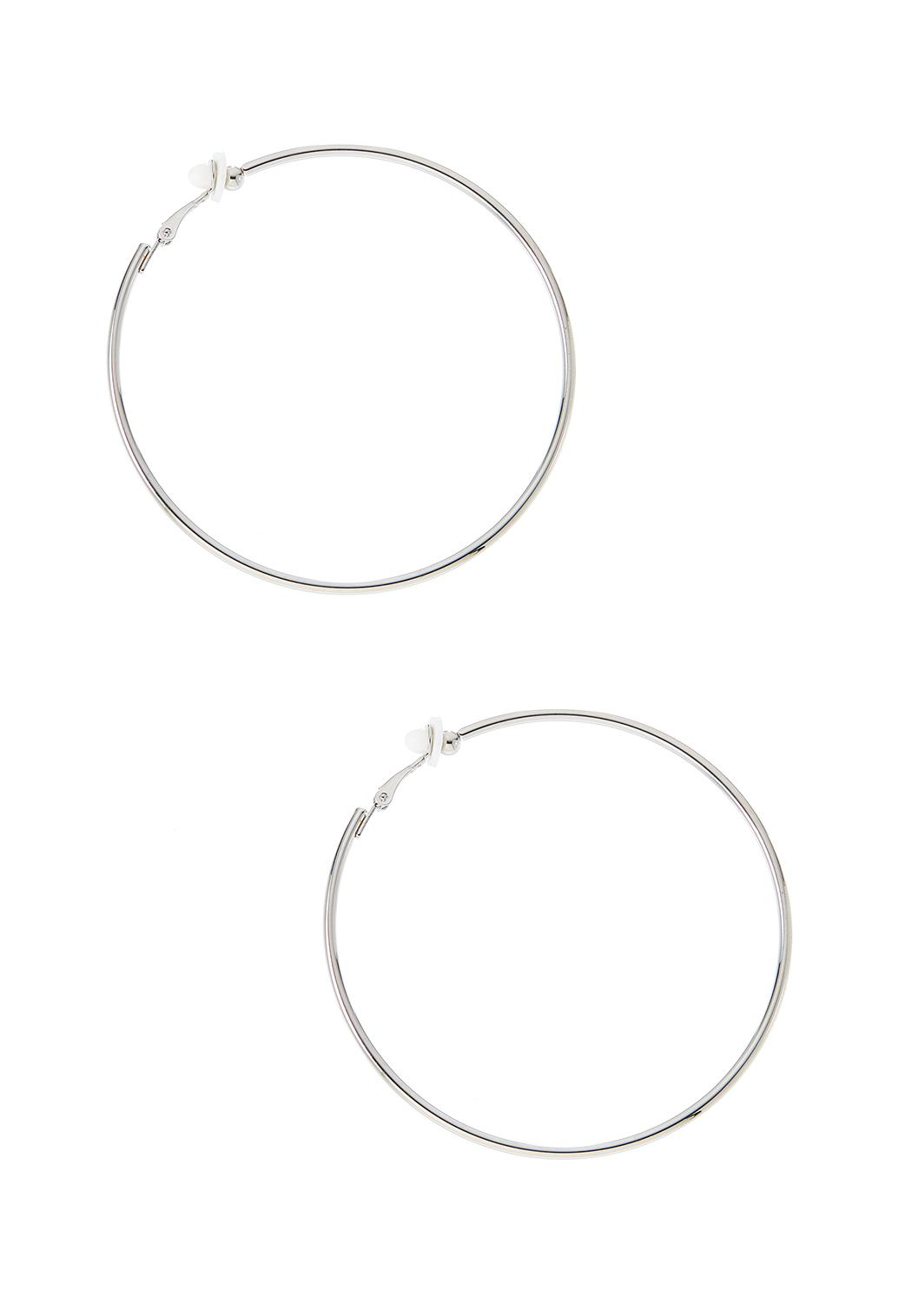 Thin Silver Clip-On Hoop Earrings