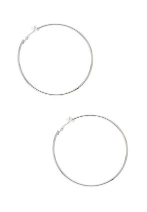Thin Silver Clip- On Hoop Earrings