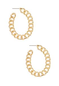 Oval Chain Hoop Earrings