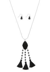Beaded Triple Tassel Earring Necklace Set